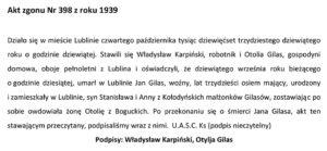 Jan Gilas - akt zgonu, tekst